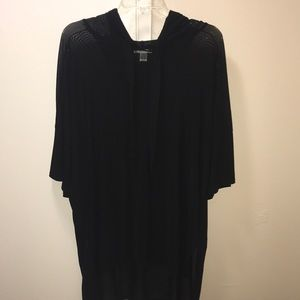 Black hooded sheer top